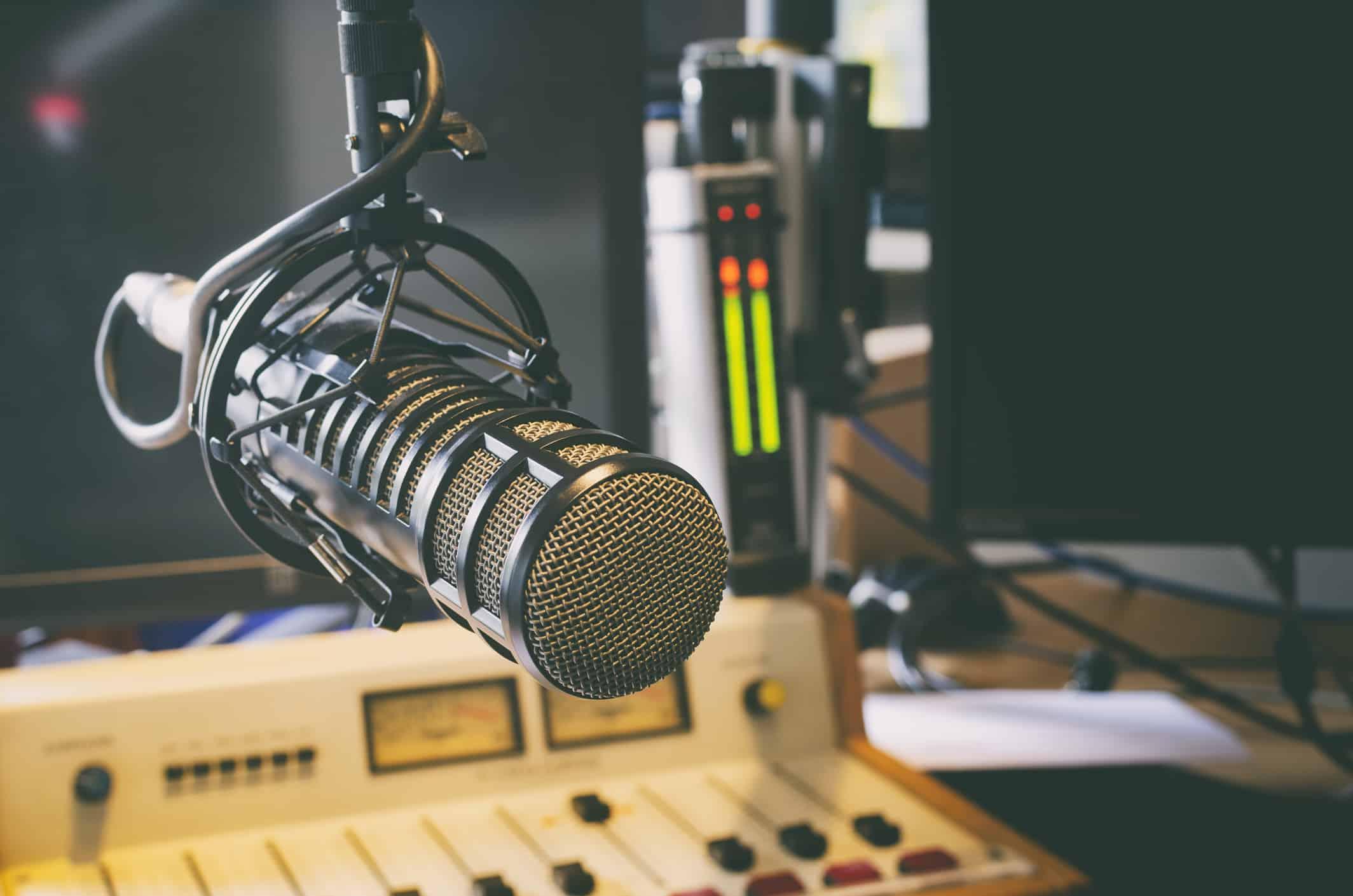 microphone in radio studio